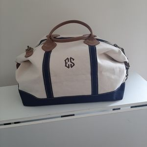 CANVAS AND LEATHER MONOGRAMMED WEEKENDER TOTE